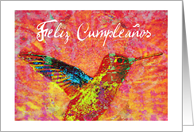 Feliz Cumpleanos spanish/latin, hummingbird! card
