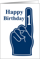 Happy Birthday Coach, you are #1, blue foam finger! card
