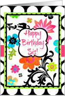 Happy Birthday Little Sis, Bright Tropical Floral on polka dots! card
