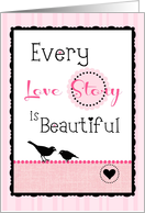 Happy Anniversary to My Spouse, 'Love Story' on Pink Stripe! card