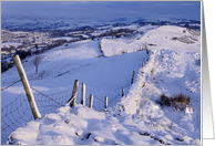 A Cumbrian Winter, snow covered wall - Blank card