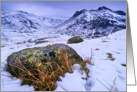 Snowy winter scene, Great Langdale, The Lake District - blank card
