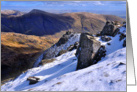 The Lake District winter mountain scene - Blank card