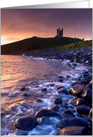 Dunstanburgh Castle at dawn - Northumberland - Blank card