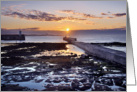 Harbour Sunset, Seahouses, Northumberland - Blank card