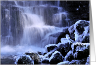 Icy waterfall, winter, - Scaleber force, The Yorkshire Dales - Blank card
