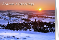 Christmas, Winter sunset on The Helm, Kendal, Cumbria - Blank card