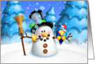 Happy Holidays, Whimsical Snowman and Silly Bird card