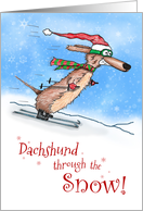 Dachshund through the Snow Merry Christmas card