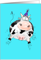 Springy Cow Cartoon Happy Birthday card