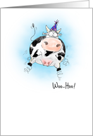 Little Springy Cow Cartoon Happy Birthday card