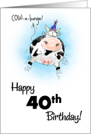 40th Birthday Little Springy Cartoon Cow card
