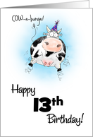 13th Birthday Little Springy Cartoon Cow card