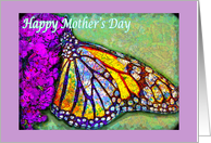 Mother's Day, Colorful Butterfly on Flower card