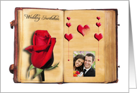 Wedding invitation - photo card with rose and heart in an old book card