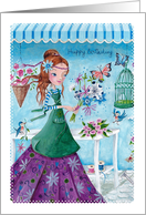 Happy Birthday - Girl with Flowers card