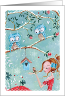 Merry Christmas - Girl with owls card