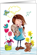 Happy Birthday - Little Girl with her dog and bear - Spring card