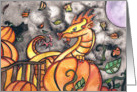 Pumpkin dragon halloween Card