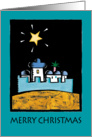 Christmas greeting card - Bethlehem Star Shining over the city's walls card
