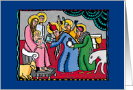 Happy Holidays - Baby Jesus, Mary, Joseph and the Three Kings card