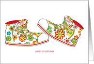 Happy Birthday - 10 - Canvas Flowery Shoes card