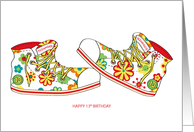 Happy Birthday - Teenager - 13 - Canvas Flowery Shoes card