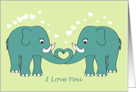 Thinking of You - I Love You - Elephants in Love card