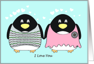 Thinking of You - Penguins in Love card