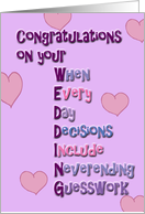 Wedding Congratulations With Wordplay. card