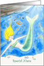 Mermaid Under Sea with Treasures, Birthday for Special Niece card