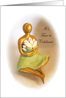 Lotus Flower Birthday - Golden Statue of Woman card