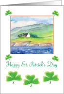Saint Patrick's day- shamrocks and traditional Irish cottage card