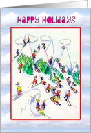 Happy Holidays- Christmas- skiers and Toboggan card