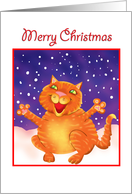 Merry Christmas-cat with snow card