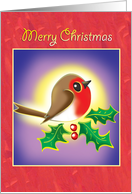 Merry Christmas-Robin with Holly card