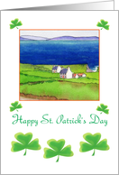 Happy St. Patrick's Day- Shamrocks and traditional Irish Cottages card
