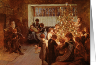 The Christmas Tree, 1911 (oil on canvas) by Albert Chevallier Tayler Fine Art Christmas Happy Holidays card