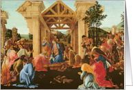 The Adoration of the Magi, c.1478-82 (tempera & oil on panel) by Sandro Botticelli Fine Art Christmas Happy Holidays card