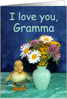 I Love You Gramma - Get Well - Duckling with Wild Flowers card