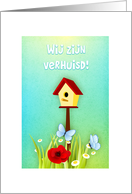 Dutch New home- birdshouse with flowers and butterflies card