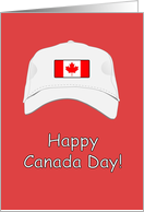 Happy Canada Day greeting card - White cap with Canadian flag. card