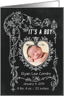 It's a Boy Chalkboard Birth Announcement Photo Card