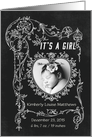 It's a Girl Chalkboard Birth Announcement Photo Card