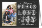 Chalkboard Wishing you Peace Love and Joy This Christmas Photo card