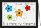 Happy Birthday Grandma Colorful Floral Cut Out card