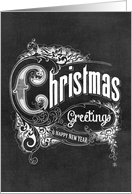 Chalkboard Christmas Greetings & Happy New Year card