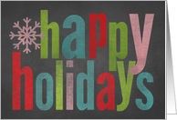 Chalkboard Colorful Happy Holidays card