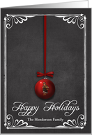 Chalkboard Red Christmas Hanging Ornament card