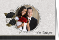 We're Engaged Diamond Floral Photo Card